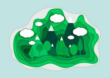 Vector illustration of a mountain landscape in a paper-cut style. Colorful mountain paper cut style. Vector illustration of a mountain landscape in a paper-cut Royalty Free Stock Photography