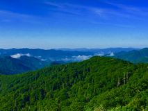 Colorful mountain range. Colorful blue and green forest mountain filled with clouds and trees Royalty Free Stock Image