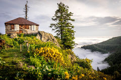 Colorful mountain resort Stock Photos