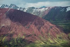 Colorful mountain ridges. Scenic springtime mountain landscape in Peruvian Andes stock image