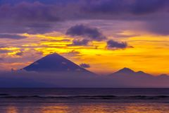 Gunung Agung mountain on sunset, Gili Trawangan, Indonesia. Stock Photography