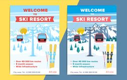 Colorful mountain ski resort background illustration. Bright lay. Out with lift or gondola on winter alpine landscape for poster, flyer, banner Stock Photos