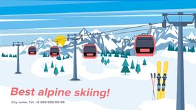 Colorful mountain ski resort background illustration. Bright lay. Out with lift or gondola on winter alpine landscape Royalty Free Stock Image