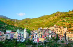 Colorful mountain village Manarola Royalty Free Stock Photo