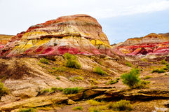 Colorful Mountain, Xinjiang China. This colorful city is actually colorful mountain, a wind-eroded geological wonder in north Xinjiang province of China Royalty Free Stock Images