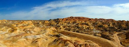 Colorful mountains. The colorful geological features in Xinjiang Stock Photo