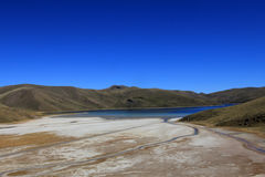 Colorful mountains and lake in peruvian andes Stock Photos