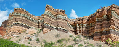 Colorful mountains of Quebrada de las Conchas, Argentina Royalty Free Stock Image