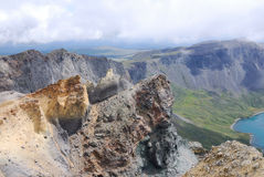 Colorful mountains beside Tianchi of Changbaishan Stock Photos