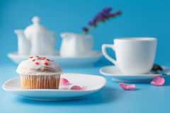 Colorful muffin on saucer with flower petal Royalty Free Stock Image