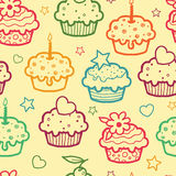 Colorful muffins seamless pattern background Royalty Free Stock Image