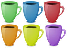 Colorful mugs with coffee vector illustration