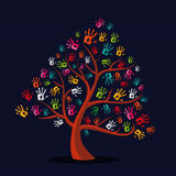 Colorful multi-ethnic hand print tree. Diversity solidarity hand prints tree illustration over stripe pattern background. Vector file layered for easy Stock Photography