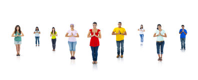 Colorful Multi Ethnic People Standing And Praying Stock Images