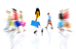 Colorful Multi-Ethnical People Walking Royalty Free Stock Photography