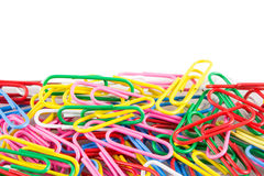 Colorful multi paper clip Stock Photography