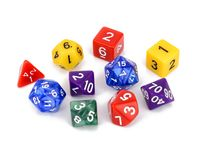 Colorful multi sided role play game dice isolated white background royalty free stock photography