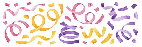 Colorful multicolored collection of confetti and party streamers.