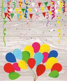 Colorful multicolored confetti and garland of flags and balloons. Holiday birthday. Vector on wooden background. Greeting card or invitation Royalty Free Stock Photos
