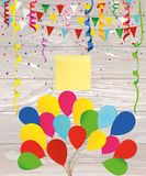 Colorful multicolored confetti and garland of flags and balloons. Holiday birthday. Empty yellow sheet of paper for notes. Sticker. Vector on wooden background Stock Image