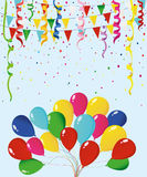Colorful multicolored confetti and garland of flags and balloons Royalty Free Stock Photos