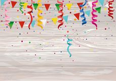 Colorful multicolored confetti and garland of flags. Holiday bir. Thday. Vector on wooden background. Greeting card or invitation vector illustration
