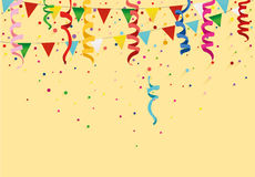 Colorful multicolored confetti and garland of flags. Holiday birthday. Vector. Greeting card or invitation Royalty Free Stock Image