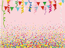 Colorful multicolored confetti and garland of flags. Holiday birthday. Vector. Royalty Free Stock Photography