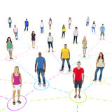Colorful Multiethnic Connected People Standing.  royalty free stock photo