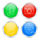 Colorful multimedia buttons Stock Photo