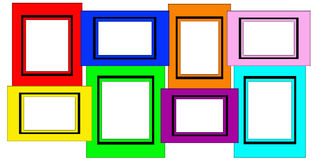 Colorful Multiple Blank Picture Frame Set. Isolated on white background Stock Images