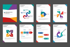 8 colorful multipurpose Brochure flyer leaflet template flat design Royalty Free Stock Images