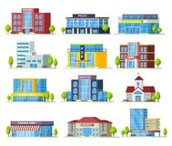 Colorful Municipal Buildings Collection. Of modern construction and architecture isolated vector illustration Stock Image