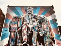 A colorful mural of Abraham Lincoln - LEXINGTON - KENTUCKY. Abraham Lincoln was an American statesman and lawyer who served as the 16th President of the United royalty free stock image