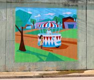 Colorful Mural Of A Child Visiting An Ice Cream Parlor On James Road in Memphis, Tennessee. Royalty Free Stock Images