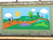 Colorful Mural of Children Playing On James Road in Memphis, Tennessee. Stock Photo