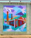 Colorful Mural Of A Factory On A Bridge Underpass On James Rd in Memphis, Tn Stock Image