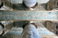 Colorful murals and columns. Of the ancient temple in Egypt Stock Photos