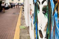 Colorful murals in the streets of colonial Casco Viejo district Royalty Free Stock Photo