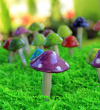 Colorful Mushrooms. Close up of colorful ceramic mushroom with more blurred in the background Stock Photography