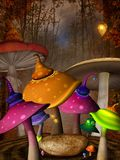 Colorful mushrooms in the misty forest. Fantasy place with different mushrooms and a rock – 3D illustration vector illustration