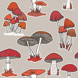 Colorful mushrooms seamless pattern Stock Photo
