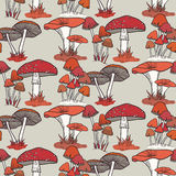 Colorful mushrooms seamless pattern Stock Photography