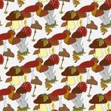 Colorful mushrooms seamless pattern Royalty Free Stock Photos