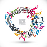 Colorful music background with clef and notes, music sheet in ro Stock Photo