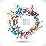 Colorful music background with clef and notes, music sheet in ro Royalty Free Stock Photo
