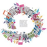 Colorful music background with clef and notes. Royalty Free Stock Photos