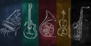 Colorful music background drawing instruments Stock Photos