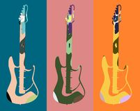 Colorful music background with guitars. An abstract illustration to celebrate music and one of its most famous instrument: guitar Stock Illustration
