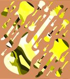 Colorful music background with guitars. An abstract illustration to celebrate music and one of its most famous instrument: guitar Royalty Free Stock Photo